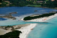 Sardegna-La Cinta-Puntaldia. Aerial view of La Cinta-Puntaldia royalty free stock image