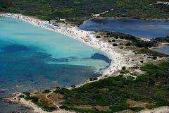 Sardegna-La Cinta-Puntaldia. Aerial view of Isuledda beach stock images