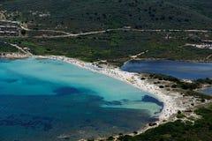 Sardegna-La Cinta-Puntaldia. Aerial view of Isuledda beach stock photography