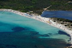 Sardegna-La Cinta-Puntaldia. Aerial view of Isuledda beach stock photos