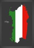 Sardegna map with Italian national flag illustration Royalty Free Stock Photography