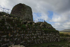 Sardegnas Nuranhe. Stone Nuraghe tower in Sardegna royalty free stock photos