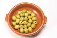 Sardelle angefüllte Oliven Stockfotos