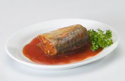 Sardine. A plate of sardine cooked with tomato sauce Royalty Free Stock Image