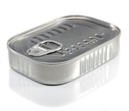 Sardine Can. Unopened Metal Ring Pull Sardine Can On A White Background Stock Image