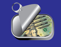 Sardine can with money Royalty Free Stock Photo