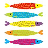 Sardine colorful fish icon set. Iwashi. Sardina pilchardus. Cute cartoon character. Anchovy pilchard. Water animal. Marine life. F. Lat design. White background Royalty Free Stock Images