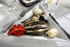 Sardine e pepe rossi brasati Fotografie Stock Libere da Diritti