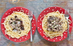 Sardine e spaghetti Fotografie Stock