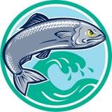 Sardine Fish Jumping Circle Retro. Illustration of an angry sardine fish jumping with waves in background set inside circle on isolated white background retro Royalty Free Stock Photos