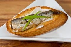 Sardine su pane tostato Immagine Stock