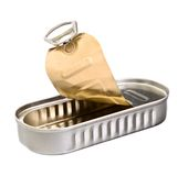Sardine tin. Isolated against a white background Stock Photography