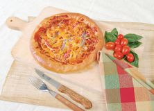 Sardine and tuna pizza. Home made pizza with tuna, sardines and crab mea royalty free stock images