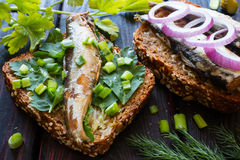 Sardinen auf Brot auf den Petersilienblättern besprüht Lizenzfreies Stockbild