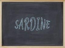 Sardinenfleisch geschrieben auf eine Tafel Lizenzfreie Stockbilder
