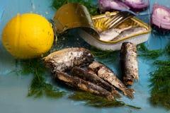 Sardiner, citron, tenn och dill arkivfoto