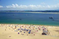 SANTANDER, SPAIN - JULY 24, 2018: Playa De La Concha, Sardinero in Santander, the Bay of Biscay. Sardinero is a popular beach located in the Spanish city of stock photo