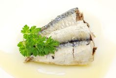 Sardines. Healthy sardines in olive oil and parsley Stock Photo