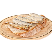 Sardines with Bread. Appetizer of sardines whith bread in a wooden plate. On white background Royalty Free Stock Photo
