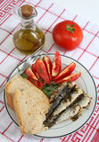 Sardines bread and tomato vertical Stock Photo
