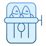 Sardines can flat icon. Tuna can blue icons in trendy flat style. Seafood gradient style design, designed for web and. App. Eps 10 royalty free illustration