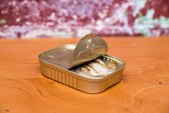 Sardines de Springwater dans un bidon Photos stock