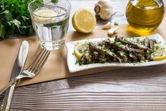 Sardines fraîches pour le déjeuner Photo stock