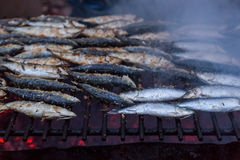 Sardines on grill on street bbq. hot tipical portugal food Royalty Free Stock Image