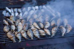 Sardines on grill on street bbq. hot tipical portugal food Royalty Free Stock Photos