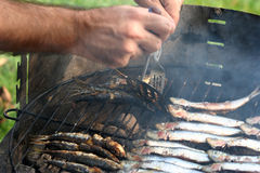 Sardines grilling on a barbecue. Hands of a person grilling sardines on an outdoor barbecue Stock Photo