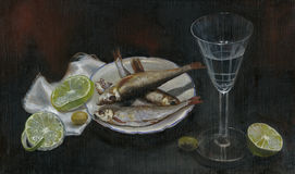 Sardines, painting. Hand painted picture with little fishes dinner Royalty Free Stock Photos