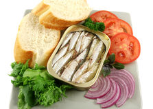 Sardines And Salad Royalty Free Stock Images