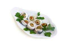 Sardines stuffed with olives. And peppers Stock Photo