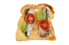 Sardines on toast Stock Photos