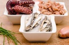 Sardines in a white bowl Royalty Free Stock Photos