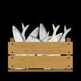 Sardines in wooden crate. Vector crate with seafood. Natural, healthy food concept. Fresh sea animals collected in the wooden box. Flat design style Royalty Free Stock Images