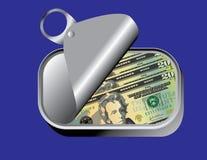A sardinha pode com dinheiro Foto de Stock Royalty Free