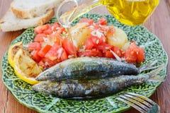 Sardinhas muito frescas cozinhadas no sal do mar Fotografia de Stock Royalty Free