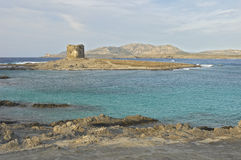Sardinia. La pelosa tower and Asinare Island, Sardinia, Italy royalty free stock image