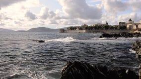 Sardinia, Alghero, Capo Caccia. Seascape. stock video