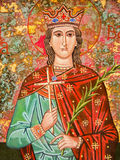 Sardinia. Alghero - L'Alguer. Santa Barbara. Image of the saint depicted in the lunette of the portal of the small church of Polish Orthodox rite dedicated to Royalty Free Stock Photos