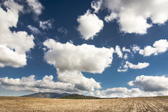 Sardinia.Arid countryside. Arid area topped by a sky with cumulus stray Royalty Free Stock Photos