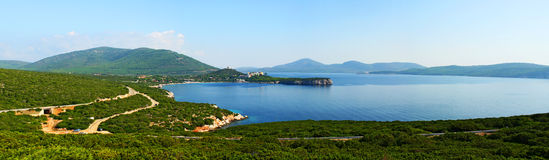 Sardinia bay panorama. View from the rock stock photography
