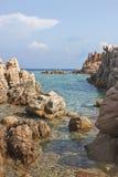 Sardinia beach. Beach made mostly of rocks in Calarossa, Sardinia, Italy royalty free stock images