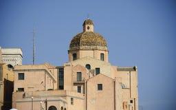 Sardinia.Cagliari.Cathedal的圆顶 免版税图库摄影