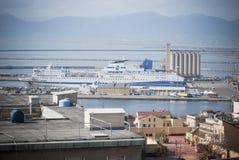 Sardinia.Cagliari-hamn Arkivfoton