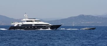 Lady Trudy Charter Yacht. SARDINIA COAST, ITALY - AUGUST 1ST, 2009: Lady Trudy yacht for charter visits the Emerald Coast. Lady Trudy was built in 2008 by CRN stock photos