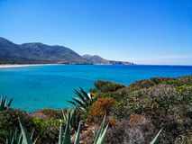 Sardinia. Coastal landscapes. Panoramic view of the Portixeddu harbour in Southern Sardinia Royalty Free Stock Images