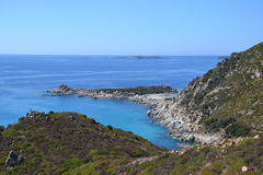 Sardinia coastline - Italy. Long view of the coves and Punta Molentis beach (the beach of two seas)  - Villasimius region in Sardinia, Italy Stock Image