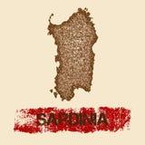 Sardinia distressed map. Stock Photos
